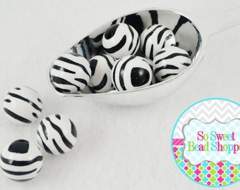 20mm Zebra Striped Acrylic Beads, 10ct, Black/White, Chunky Beads, Round
