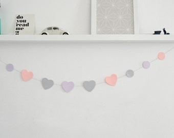 Hearts and circles paper garland