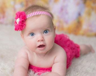 Hot Pink Headband, Hot Pink Flower Girl Headband, Hot Pink Flower Headband, Hot Pink Birthday Headband, Pink Clip,Hot Pink Birthday Headband