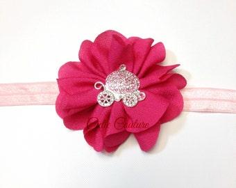 Baby Headband, Hot Pink Headband, Princess Headband, pink baby Headband, pink flower headband, pink newborn headband, birthday headband