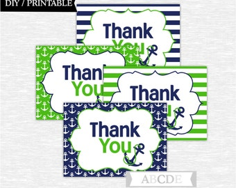 Instant Download Navy and Green Nautical Party Thank You cards Nautical Birthday party Baby shower DIY Printable (PDN013)