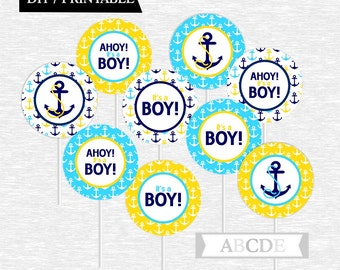 Instant Download Yellow, Navy and Blue Cupcake Toppers Baby Shower decorations Ahoy Its a boy Nautical baby Shower DIY Printable (PDN031)