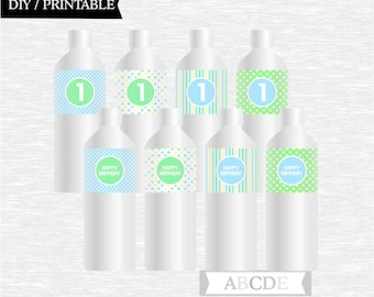 Instant Download Polka Dots First Birthday Party Water Bottle wraps ( PDMD037 )