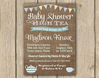baby shower high tea invitations, PRINTABLE, baby boy shower tea party invite, burlap pennant baby boy shower invitation, DIY PRINTABLE