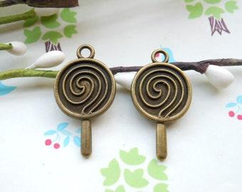 50pcs 14x22mm antique bronze lollipop charm,lolly charm,lollypop charm