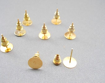 100 pieces  Nickel Free Surgical Steel Stud Earnuts and 8mm Flat Pads, Gold Earring Posts with Back Stoppers(Nickel free ).