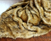Plush Faux Fur Wolf Skin Bedspread / Comforter / Throw Blanket / Golden Brown Bearskin Wolf Coyote / Custom Made USA / Lined / All Sizes