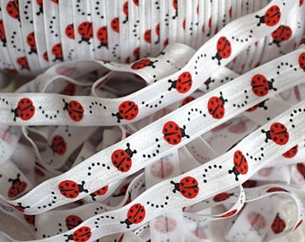 5 yards - Ladybug - 5/8 Fold Over Elastic - FOE - Lady bug Foldover Elastic - Elastic by the yard - Shiny Elastic - DIY - Headband