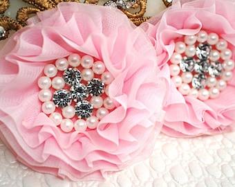 Set of 2 - Pink Beaded Fabric Flowers - Pink Fabric Flower - Wholesale Supplies - Rhinestone Pearl Chiffon Flower - Parisian Chiffon Flowers