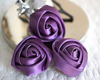 "Set of 3 Rolled Rosettes 1.5"" - Dark Purple Satin Flower Satin Rose - Small Rosettes - Satin rosettes - Rolled flowers - Wholesale -Supplies"