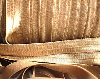 1 Yard -  Tan FOE - 5/8 Fold Over Elastic - Foldover Elastic - Solid FOE- Elastic by the yard - Elastic Trim Shiny Elastic - DIY