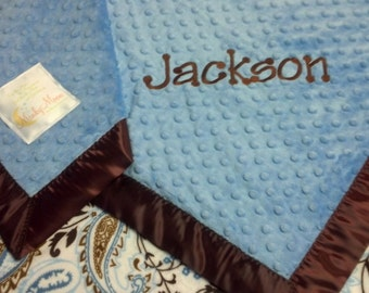 FREE SHIPPING Personalized Baby Blanket with Blue and Brown Paisley Print Minky