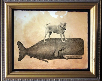 Labrador Retriever Yellow Lab Riding Whale - Vintage Collage Art Print on Tea Stained Paper dog art - dog gifts - dog christmas gift