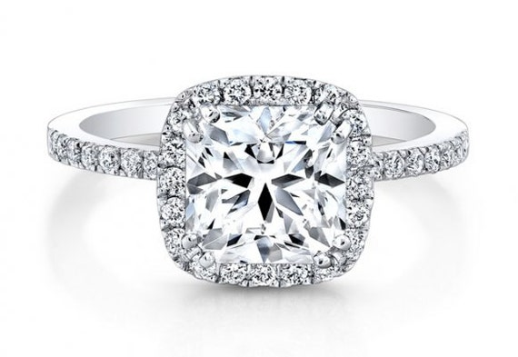 2 03ct Square Halo Radiant Diamond Engagement Ring by blueriver47