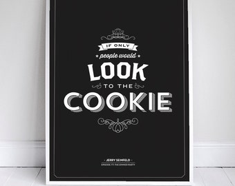 """If Only People Would Look to the Cookie - Seinfeld Quote - Typography - Red - 11x17"""" - Wall Art"""
