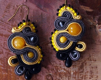LITTLE DRAGON Lemon & Grey Soutache Earrings with Jade- Antidotum- Craftwork- Handmade- Soutache Jewellery