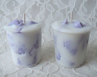 Lavender Cedar Sage Votive Chunk Soy Wax Candles, Set of 2