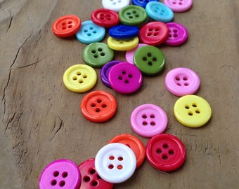 50 Colorful Buttons - 13mm - 4 Hole Buttons - Sewing Buttons