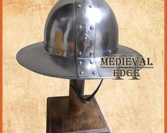 kettle hat helmet re-enactment larp 13th centrury medieval infantry helmet steel
