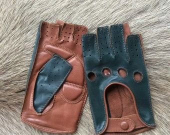 Women's Driving Leather Gloves - Fingerless Gloves - Fitness Gloves - Half finger gloves