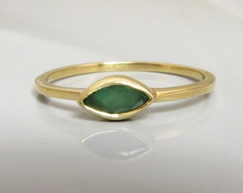 Emerald Gold Ring , Stacking Gold ring ,Green Emerald Marquise Ring , 14k Gold Ring , Engagement Ring