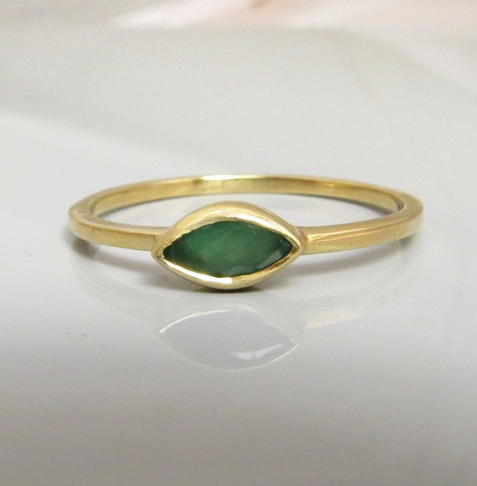 emerald gold ring stacking gold ring green emerald marquise