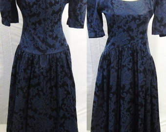 LUXE Vintage Broacde Dress, Knee Length Princess Cut with Elbow Length Sleeves, Dark, Navy Blue, 80s Womens Clothing