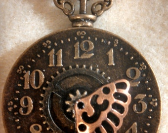 steampumk style necklace pendant clock face and key with chain