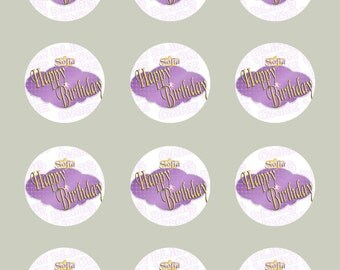 Disney Princess Sofia the First Logo-Inspired Personalized Happy Birthday Edible Icing Cupcake Decor Toppers - STF2