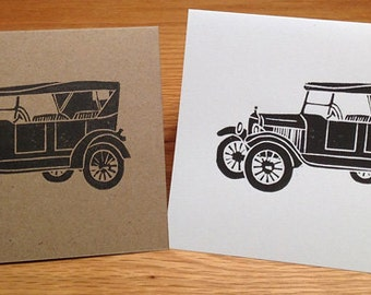Antique car linocut block print card