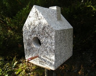 Birdhouse/ Stone Birdhouse/Stone Functional Birdhouse/Granite Birdhouse/Granite Rock Birdhouse