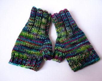 Fingerless Gloves for baby, green violett, wool merino, handknitted wrist warmers, mittens,