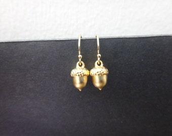 Tiny, Acorn, Gold, Earrings, Minimalist's Earrings, Small, Acorn, Earrings, Birthday, Best friends, Sister, Gift, Jewelry