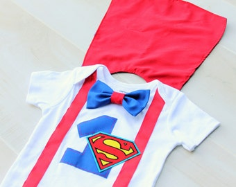 Superman 1st Birthday Outfit with Cape
