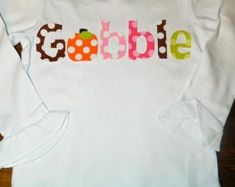 Girl or Boy - Thanksgiving Gobble Applique Shirt