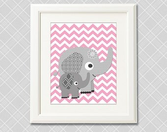 Pink and grey elephant wall art, nursery Art Print  -8x10- Baby girl wall art, baby elephant, flower,  chevron  -UNFRAMED