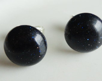 Blue Goldstone Round 8mm Post Earring