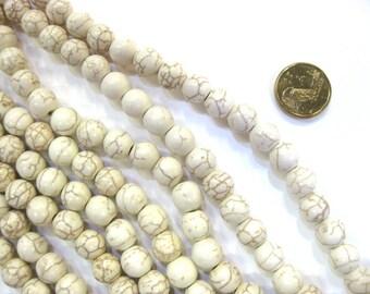 10mm Round Cream Coloured  Howlite Stone Strand