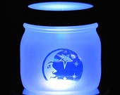 Moon and Stars Light Jar Table Lantern Handmade Gift