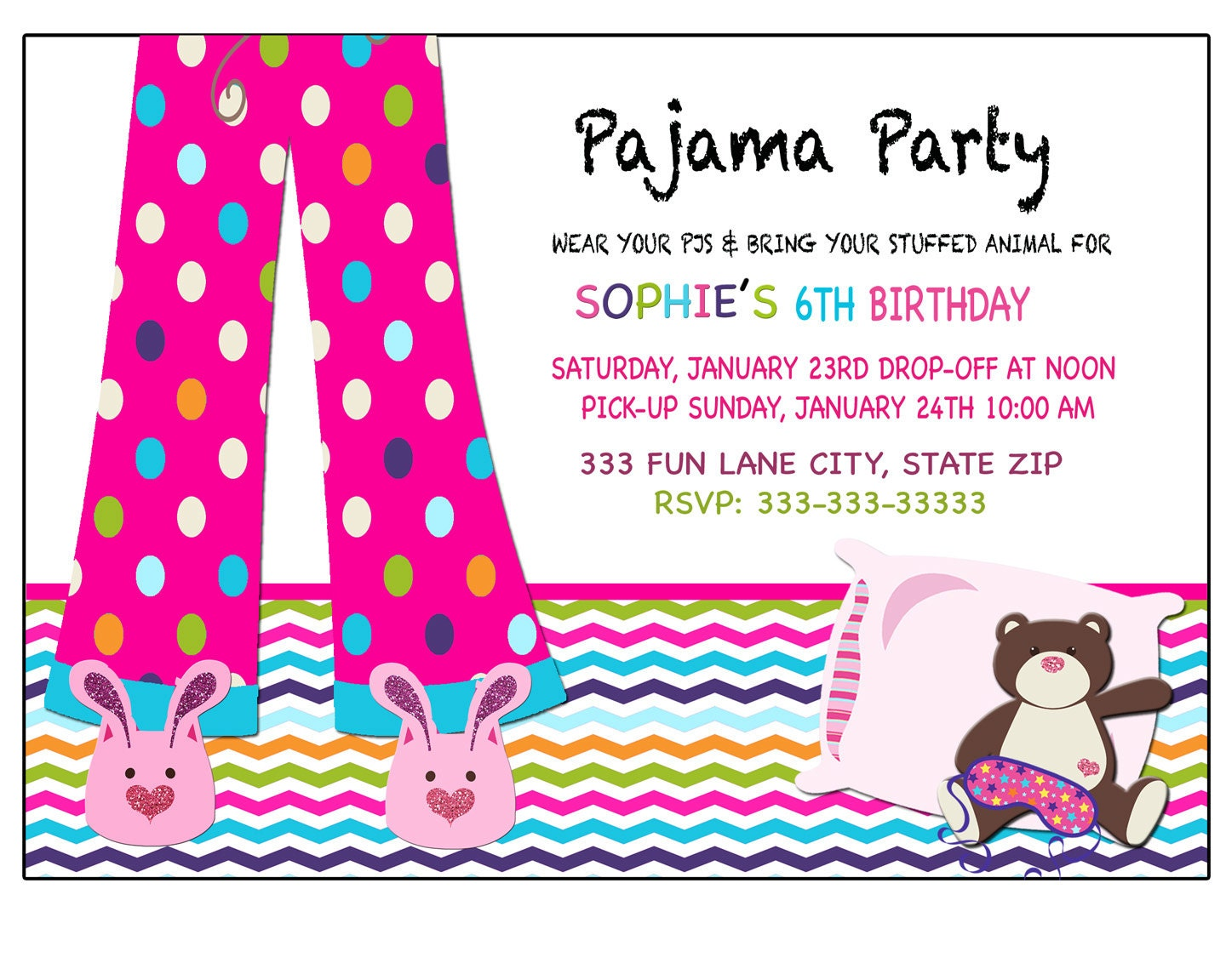 Sleepover invitation Pajama party invitation Sleepover