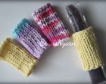 Knitted freeze pop holders (cozies, wraps, buddy)
