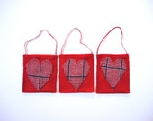 Eco Gift Card Bag Ornament Plaid Red & Blue Wool Heart  Woodsman Under 10 Dollars Holiday Upcycled Love Eco Friendly Gift Wrap