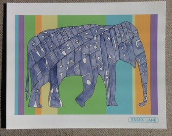 Syd Barrett - Effervescing Elephant - Hand Drawn Illustration Print - Elephant