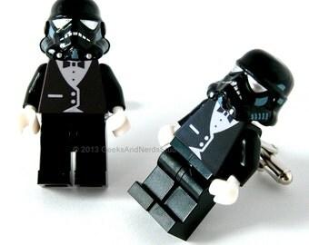 Groomsmen Cuffinks - LEGO Star Wars Cufflinks - Shadow Trooper with Black Tuxedo Cufflinks - Star Wars Wedding - Wedding Cufflinks