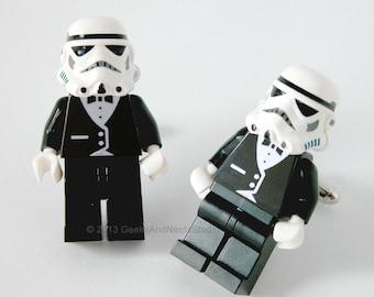 Stormtrooper Cufflinks - LEGO Star Wars Stormtrooper w Black Tuxedo Figure Cufflinks - Mens Cufflinks - Groomsmen Gift - Best Man Gift- Dad