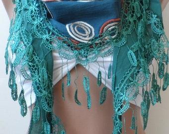 christmas scarf,  elegant scarf, cotton scarf, Teal green scarf, Summer scarf, fringed scarf, Women scarf, Wedding, fashion , trend, guipure