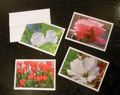 Flower Note Cards, blank stationery folded cards, floral images, 5x7 with envelopes