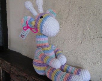 Large crochet Giraffe, in pastel stripes