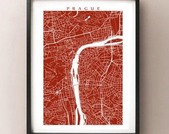 Prague Map Print - Czech Republic Wall Art