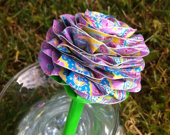 Purple Paisley Duct Tape Flower Pen